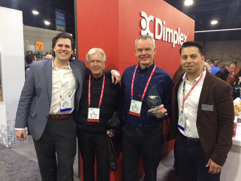 Acknowledging Dimplex's Canadian Specialty Hearth Distributor of the Year Award - Justin Sundset, Gary Pool, Don Hiebert, Andres Castro